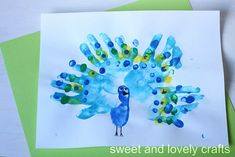 cute peacock from handprints