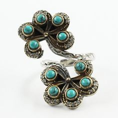 Flower Design Attractive Look Adjustable 925 Sterling Silver Ring For Women's With Turquoise & Cubic Zirconia Stone by JaipurSilverIndia on Etsy