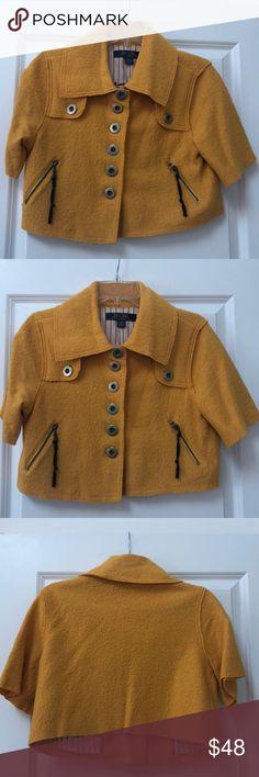 "Mustard Gold Wool Blend Crop Jacket New... Super cute Crop Jacket. Great to jazz up an outfit. Jacket is 40% Wool 60% Viscose... Bust 17.5"", sleeve 10"", length 16"" Millard Fillmore Jackets & Coats"