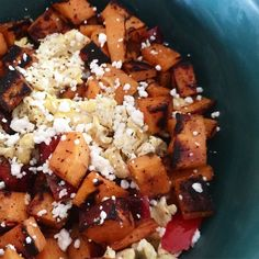 My favorite breakfast as of late! Sautéed sweet potatoes & red bell peppers seasoned with smoked paprika and garlic. Scrambled Eggs. Topped off with some goat feta. This holds me over for hours and tastes WONDERFUL! It's so satisfying to get some vegetables in first thing in the morning. by girlgonecrunchy