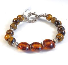 Women's Brown with Silver Accents Beaded Bracelet by DungleBees