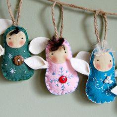 Angel Wool Felt Christmas Ornament Waldorf by PauperHandmade Felt Christmas Decorations, Felt Christmas Ornaments, Christmas Love, Christmas Angels, Handmade Christmas, Angel Ornaments, Angel Crafts, Felt Crafts, Christmas Crafts