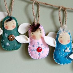 Simple and sweet wool felt angel ornaments