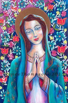 Spiritual Paintings, Goddess Art, Sacred Art, Mother Mary, Outsider Art, Woman Painting, Kirchen, Religious Art, Art Images