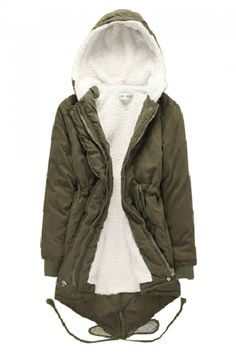 Army Green Thicken Hoodie Long Outerwear