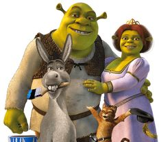 Shrek, Donkey Fiona and Puss in Boots
