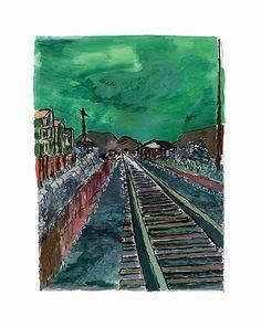 www.canvasgallery.com Bob  Dylan Train Tracks (green) 2008