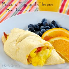 Bacon, Egg and Cheese Sandwiches using Pillsbury Crescent Rolls