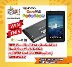 Win an NEO OmniPad Android Tablet. Open Worldwide, ends August New Tablets, August 27, Android 4, Poster, Pinoy Recipe, Giveaways, Smart Watch, Gadgets, Cook