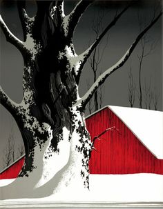 Red Barn and Tree Snow by Eyvind Earle