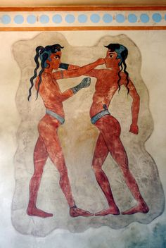 A boxing fresco found in Akrotiri on the island of Thera (Santorini) in the Cyclades. (Copy of an original in the National Archaeoloigcal Musuem, Athens). Greek History, European History, Ancient History, Art History, American History, Ancient Egyptian Art, Ancient Aliens, Ancient Greece, Knossos Palace
