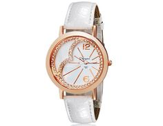 Women Alloy Dial Crystal Decorated Analog Watch with Faux Leather Strap Wrist Watch $6.9