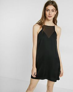 mesh inset satin slip dress from Express