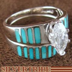 Silver And Turquoise Inlay Wedding Band Ring Set Size 4-3/4 NS40874