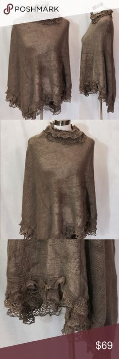 """Black Friday Sale Khaki Knitted Turtleneck Poncho Black Friday Sale Was $69 Now $49 Ladies knitted Poncho with 3 layers of knitting ruffles at the top and bottom 100% Acrylic, one size fit all hand wash, Dry flat shoulder to shoulder width 25"""" side length 26"""" front length 30"""" Bellissima Accessories Scarves & Wraps"""