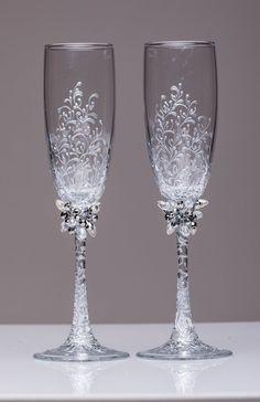 personalized wedding glasses Toasting от WeddingBohemianChic