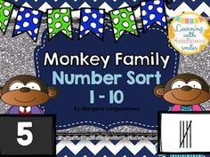 Will you help Daddy Monkey find his family? This number match. Classroom Resources, Teaching Resources, Teaching Ideas, Numbers 1 10, Number Recognition, Learning Numbers, Classroom Setting, Numeracy, Classroom Management