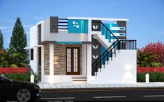 House Balcony Design, House Floor Design, Village House Design, Duplex House Design, Small House Design, House Elevation, Building Elevation, Bungalow, 20x30 House Plans