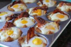 Toast, eggs, and bacon bowls cooked to perfection in a muffin tin.