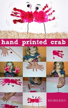 Hand printed crab. It's great fun and sensory exercise for hands and fingers.