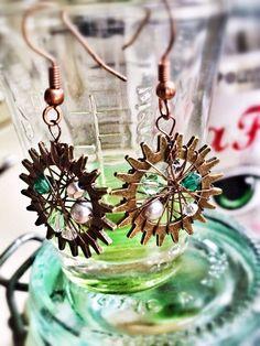 Crystal Cog earrings by SparkleyJem on Etsy