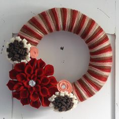 Warm & Cozy Yarn Wreath with Handmade Felt by PoshGirlBoutique, $35.00 Handmade Felt, Handmade Flowers, Burlap Wreath, Yarn Wreaths, Straw Wreath, Shades Of Red, Yarn Colors, Felt Flowers, 4th Of July Wreath