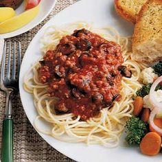 Quick Italian Spaghetti Recipe from Taste of Home -- shared by Ruth Peterson of Jenison, Michigan  #quick #dinner