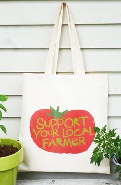 Canvas tote bag Support your local farmer hand drawn by LizzyClara