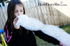 Lot's of ideas for fun with bubbles, like this bubble snake