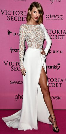 TAYLOR SWIFR WEARS A DRESS FROM THE FALL WINTER 2014/2015 COUTURE COLLECTION TO THE 2014 VICTORIA'S SECRET FASHION SHOW AFTER PARTY. ZUHAIR MURAD