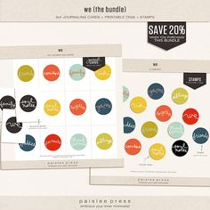 We (the bundle) tags and journaling cards by Paislee Press