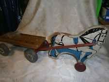Vtg.1930's~ RICH TOYS~ Borden's Milk Wagon, Pull Toy,WOOD HORSE