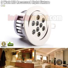 9 Watt LED Recessed Light Fixture - Aimable and Dimmable