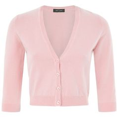 Pink Cropped Cardigan (14 CAD) ❤ liked on Polyvore featuring tops, cardigans, shirts, shirts & tops, pink top, summer shirts, crop shirts and button front shirt