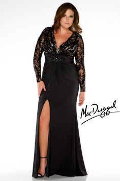 Long Sleeve Black Jersey Plus Size Gown - Mac Duggal 76457F
