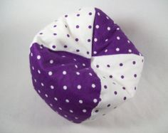 Doll Furniture   Purple And White Polka Dot Bean Bag Chair
