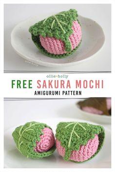 Crochet Cake, Crochet Food, Quick Crochet, Cute Crochet, Crochet Patterns Amigurumi, Crochet Dolls, Sakura Mochi, Crochet For Beginners, Beginner Crochet