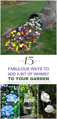how to add whimsy to your garden to take away the boring blahs, and to make your garden a place people want to come back to!Learn how to add whimsy to your garden to take away the boring blahs, and to make your garden a place people want to come back to! Garden Crafts, Garden Projects, Garden Art, Diy Projects, Garden Ponds, Container Gardening, Gardening Tips, Organic Gardening, Gardening Gloves