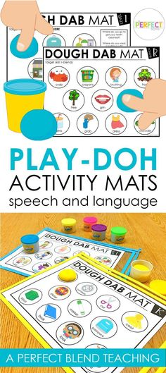 These mats are perfect for groups with mixed goals! Language target skills have two levels, one with visual support and one without visuals.