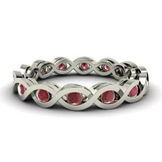 Ruby Eternity Ring in 14K White Gold  Aria by Diamondere on Etsy, $484.00