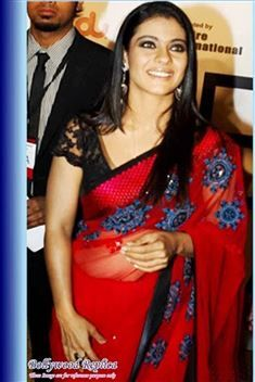 Kajol Red Net Bollywood Replica Saree