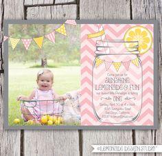 Lemonade Invitation, pink lemonade for Peytons bday