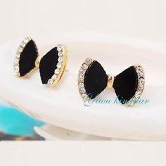Yiwu kingstar 2015 Fashion Simple and Elegant Stud Earrings For Women  Bowknot Crystal Mosaic Fine Jewelry 7039666215ef