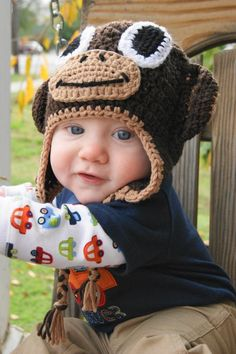 My cute baby boy modeling his Shelly's Blankies & More crochet monkey hat. Baby boy photo.