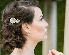 Wedding Hair Clips - Wedding Pearl Hair Clip With Crystal Rhinestones, Meredith