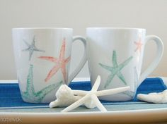 homework: Etceteras: sharpie coffee mugs [starfish]--Use sharpie--When you are done with your drawing bake your mugs at 350 degrees for 30 minutes (again, make sure your mugs are oven safe). Let cool. The drawing is now permanent and the pencil marks will wash away.
