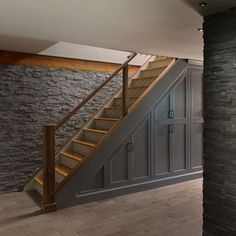 storage under stairs in basement basement stair storage storage shelves under basement stairs Basement Staircase, Stair Railing, Basement Walls, New Homes, House, Stair Storage, Basement Bedrooms, Basement Decor, Basement Remodeling