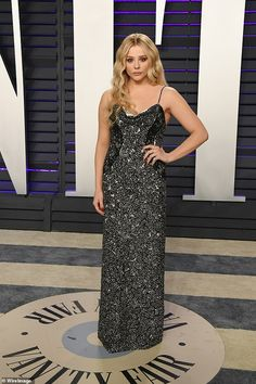 Chloe Grace Moretz opts for gothic glamour at Vanity Fair Oscars bash | Daily Mail Online