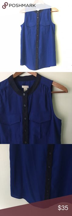 """J. Crew // Factory Tipped Draped Tank - blue Factory tipped draped tank from J. Crew. Royal blue polyester fabric with navy trim. Buttons down the front. Loose fit top. Has never been worn, in excellent condition. Style a0086  Measurements (approx): Bust 35"""" Waist 35"""" Hips 35"""" Length 24"""" J. Crew Tops Blouses"""