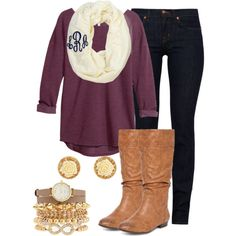 """""""Monogrammed Scarf"""" by ugafaninky on Polyvore... wine color shirt, skinny jeans, tan boots, gold jewerly"""